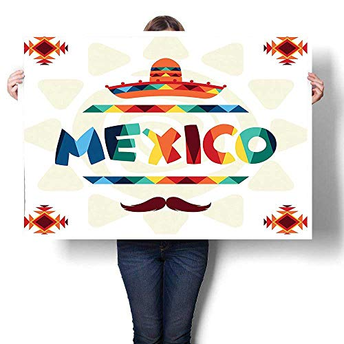 SCOCICI1588 Modern Canvas Paintings,Mexico Traditional Aztec Motifs and Sombrero Straw Hat Moustache Graphic Multi Canvas,Paintings Modern Home Decor Wall Art Painting,60