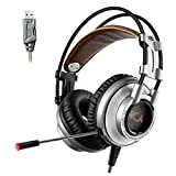 XIBERIA Gaming Headset Surround Sound USB PC Headset Over-ear Bass Gaming Headphones with Microphone for PC / Mac / Computer / Laptop - Silver