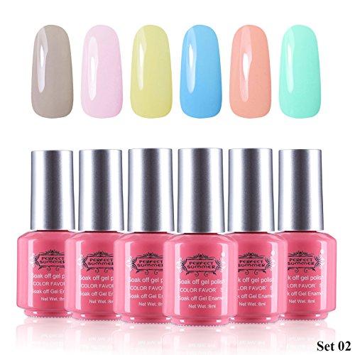 Perfect Summer Formaldehyde Free 6pcs 8ml Gel Nails Polish C