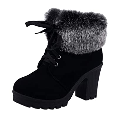 e6e60d7c390a Faux Leather Black Ankle Boots Chunky High Heel Womens Fur Winter Warm Snow  Lace Up Bootie