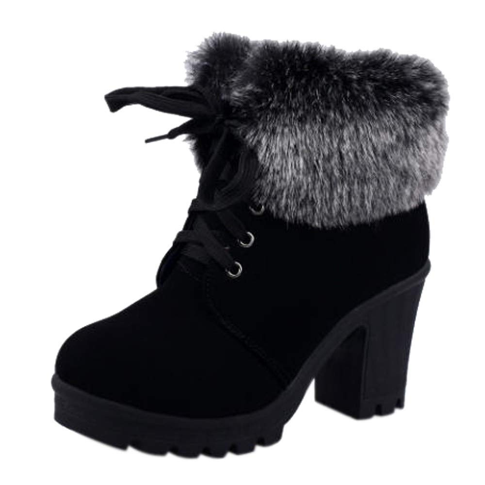 SMALLE ◕‿◕ Women Lace-Up High Thick Short Boots Shoes Leisure Ankle Boots High-Heel Boots (US Size:7.5, A_Black)