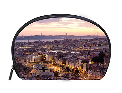 - Custom design Portable Toiletry Cosmetic Bag Lisbon cityscape panorama at sunset Travel Cosmetic Case Luxury Makeup Artist Bag