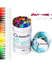 Homecube Dual Tip Art Marker, 60 Colours Brush Pens Sets Soft Flexible Coloured Pens & Fineliner Tip, Watercolour and Paint Pens for Colouring Books, Sketching, Calligraphy