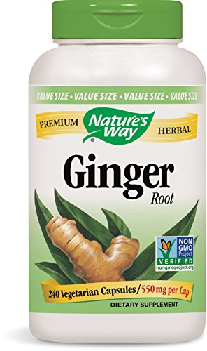 Nature's Way Ginger Root; 1.1 gram Ginger Root per serving; Non-GMO Project Verified; TRU-ID Certified; Gluten-Free; Vegetarian;  240 Capsules
