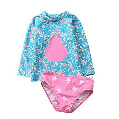 KIMJUN Baby Girl's Swimsuit Rash Guard Two Piece Long Sleeve Swimwear Toddler Kid Sunsuit Bathing Suit 1-6t (Gourd Blue, 2-3 Years Old/4)