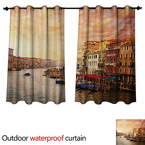 WilliamsDecor Scenery Outdoor Ultraviolet Protective Curtains Venezia City Italian Landscape with Old Ancient Houses Gondollas and Spikes Image W108 x L72(274cm x ()