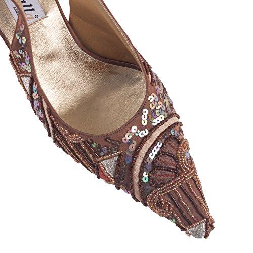 FARFALLA - Zuecos para mujer marrón