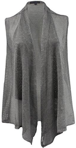 Cropped Sweater Vest (BNY Corner Women's Plus-Size Sleeveless Mesh Cadigan Cover Up Fashion Vest Grey 1X G160.33L)