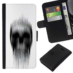 KLONGSHOP // Tirón de la caja Cartera de cuero con ranuras para tarjetas - Significado Blanco Negro Lluvia Deep Dark - Sony Xperia M2 //