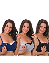 Curve Muse Women's Nursing Plus Size Wirefree Maternity Bra with Lace Trim-3Pack