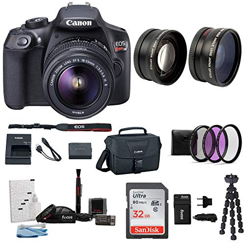 Canon EOS Rebel T6 Digital Camera: 18 Megapixel 1080p HD Video DSLR Bundle With Wide Angle 18-55 MM Lens 32GB SD Card Mini Tripod Filter Kit & Charger – Professional Vlogging Sports and Action Cameras