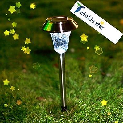 Twinkle Star Solar Path Lights Stainless Steel Solar Garden Lights Solar Lights Outdoor for Patio Yard Driveway