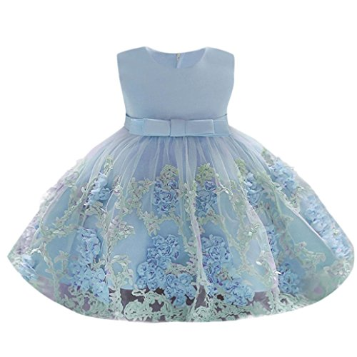 Dinlong Newborn Baby Girls Clothes Floral Princess Tutu Dress Wedding Bridesmaid Pageant Gown Birthday Party Formal Outfits (0-6 M, - Occasion Special Dresses Newborn
