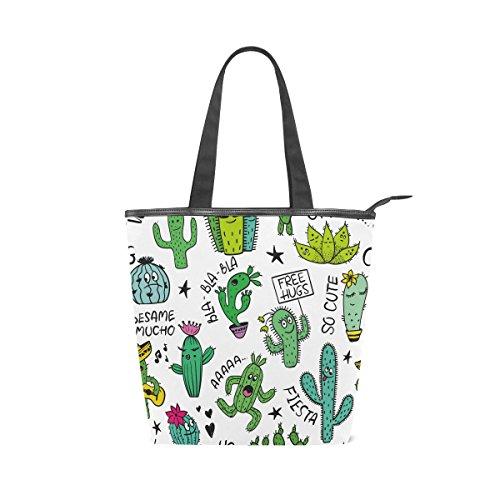 Toile Drôle Doodle Bandoulière En À Main Alaza Emoji tout Sac Fourre Cactus 4wxPqOY7UO