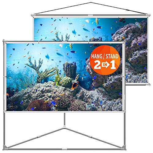 Tv Accessories Movie (JaeilPLM 100-Inch 2-in-1 Outdoor Indoor Portable Projector Screen with Triangle Stand or Hanging Design, Movie Projection for Camping, Recreational Events, Home Theater, Gaming)