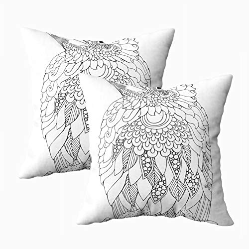 Capsceoll Bed Pillow Covers, Seated Baby Raven Picture Sketch Adult Coloring Book in Style Page 18x18 Pillow Covers,Home Decoration Pillow Cases Zippered Covers Cushion for Sofa Couch