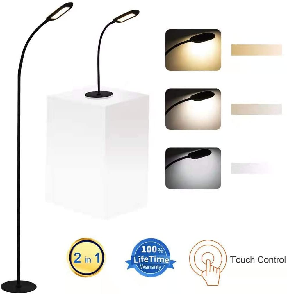 Shalomlite Dimmable LED Floor Lamp, 2 in 1 Standing Lamp Desk Lamp for Living Room Bedroom, Adjustable LED Floor Light Stepless Dimmer with Touch Control, 5 Brightness Levels 3 Color Temperature