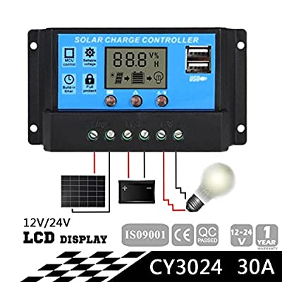 Sun YOBA Solar Charge Controller Solar Panel Controller 20A 30A 12V 24V With Double USB Ports