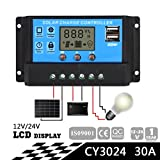 Sun YOBA Solar Charge Controller Solar Panel Controller 30A 12V 24V With Double USB Ports-US Stock