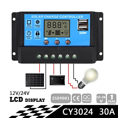 Sun YOBA Solar Charge Controller Solar Panel Controller 30A 12V 24V With Double USB Ports-US Stock by Sun YOBA