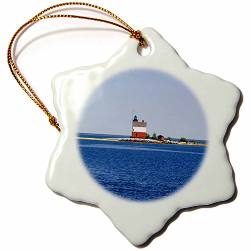 3dRose ORN_144712_1 USA Michigan, Macinaw City, Round Island Lighthouse Us23 Pha0003 Peter Hawkins Snowflake Ornament, Porcelain, 3-Inch (Michigan City Lighthouse)