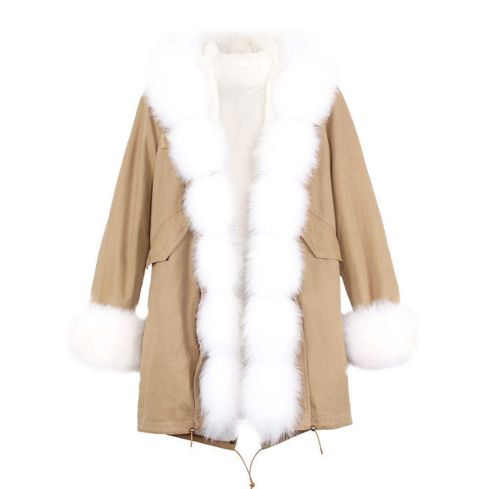 color 6 P JSGJCOAT Coat High Fashion Luxury Women's Large Collar Hooded Jacket Hooded Winter Warm Outwear