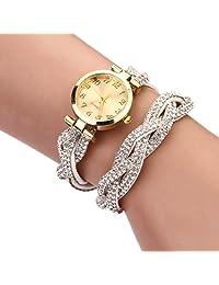 changeshopping Fashion Women Crystal Bracelet Watch Dial Quartz Analog (white)