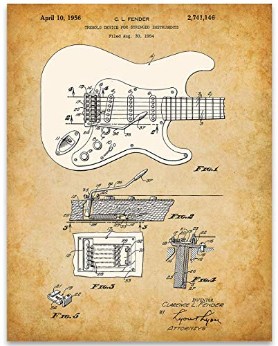 1956 Fender Stratocaster Guitar Poster Patent - 11x14 Unframed Patent Print - Great Gift Under $15 for Guitar Players