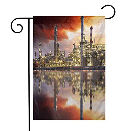 (seedine Mini Flags Farmhouse Lawn Industrial Oil Refinery Petrochemical Industry Water Reflection and Dramatic Sky Twilight 12.5 x 18 Inch Multicolor)