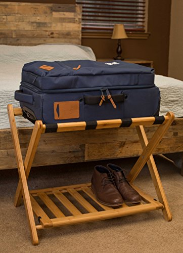 Birdrock Home Bamboo Folding Luggage Rack With Shoe Shelf Compact Bedroom Guest Room Suitcase