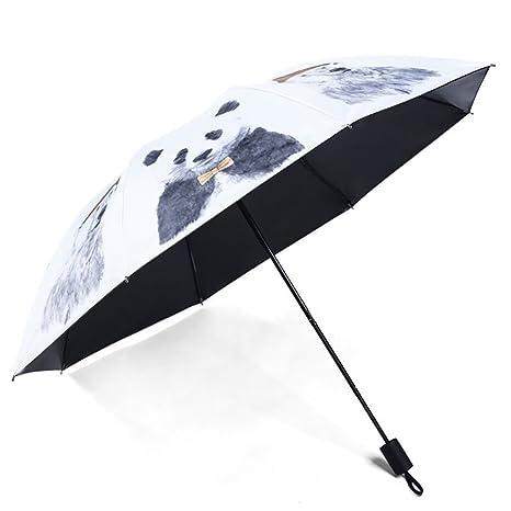 Paraguas Plegable Antiviento Parasol Anti UV Con Diseño De Animal Oso Panda Por Dentro O Por