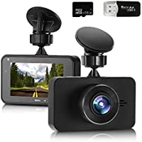 Dash Cam in Car Camera 1296P FHD Dash Cam Video Recorder with Sony 323 Sensor 6G Lens 170 Wide Angle 3 Inch Screen WDR Loop Recording G-Sensor 16GB SD Card