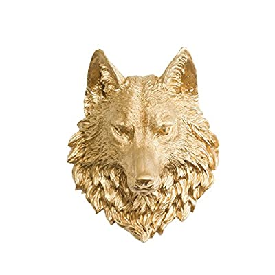 Wall Charmers Wolf in Gold - Faux Taxidermy Fauxidermy Fake Animal Head Bust Mount - Decorative Resin Decor Mounted Replica Art