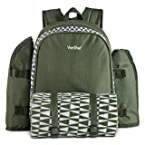 VonShef 4 Person Picnic Backpack with Insulated Cooler Compartment - Includes Removable Bottle Holder and Wine Carrier, Picnic Blanket and Picnic Cutlery/Dinning Set - Green