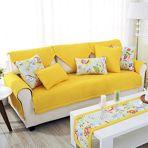 """YJBear Home Garden Polyester Solid Color Quilted Sofa Furniture Protector Non-Slip Rectangle Twill Sofa Slipcover Yellow 35.4"""" X 82.6""""(1 PCS) from YJBear"""