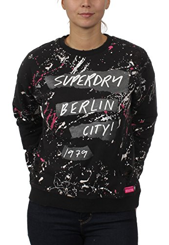 Superdry Sweatshirt Damen Splatter Punk Crew Noir Black
