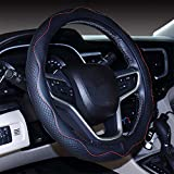 Hsdris Steering Wheel Cover Universal 15 inch Microfiber Leather Comfortable Wear Resistant Embossed Stitching Stylish and Beautiful Four Seasons Universal - B