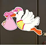 It's a Girl Stork Baby Door Sign Hanger - Welcome Home Newborn Announcement - Pink Shower Party Decoration - Special Delivery Hospital Wreath