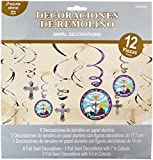 Mi Primera Comunión First Communion Party Hanging Swirl Ceiling Decoration, Paper, 7', Pack of 12