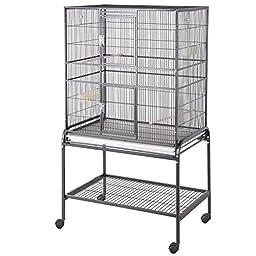 HQ Flight Cage, Multi Purpose Aviary with Cart Stand, Black, 1 Per Box