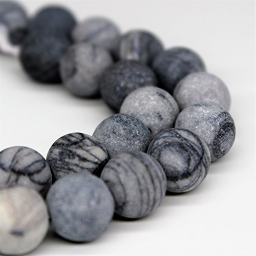 - Lynxus Matte Natural Web Jasper Gemstone Loose Beads 10mm 37 Beads Per 15.5