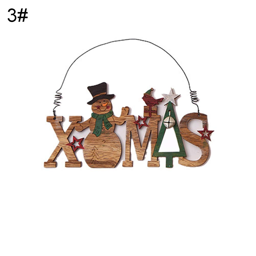 1# Wooden Xmas Santa Reindeer Plate Bell Pendant Hanging Window Door Tree Decor YESZ Christmas Pendant Ornaments for Xmas Tree