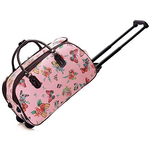 TrendStar Bolso Del Viaje De Las Señoras Bolsa De Viaje Bolsas De Equipaje De Mano Mujeres Del Lunar Del Fin De Semana De Ruedas De La Carretilla G - Pink