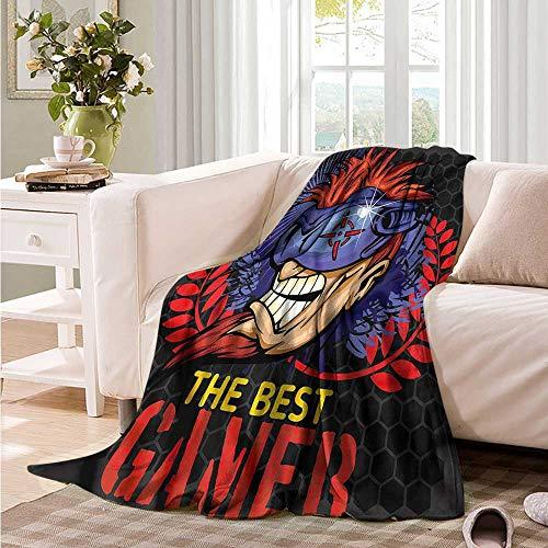 (Oncegod Travel Blanket Gamer Honeycomb Pattern Cyber Man Blanket on Bed Sofa Bedding 91