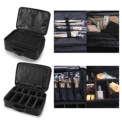 Hotrose Professhional Large Space Makeup Brush Bag - Cosmetic Artist Organizer Kit - Handle Shoulder Bag - Travel Box (Makeup Artist Bags)