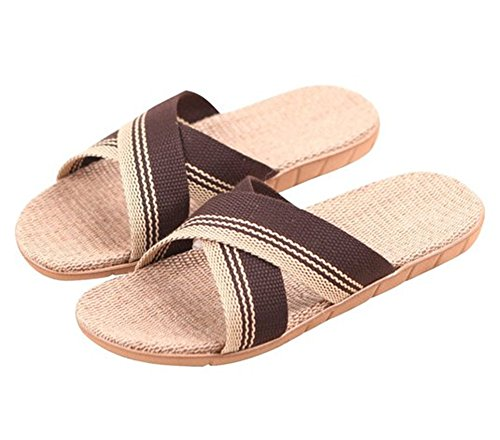 House Slippers Non Soft Sandal Cozy Bathroom Braid Beige Shower SAGUARO slip Household Flax zpvWp4
