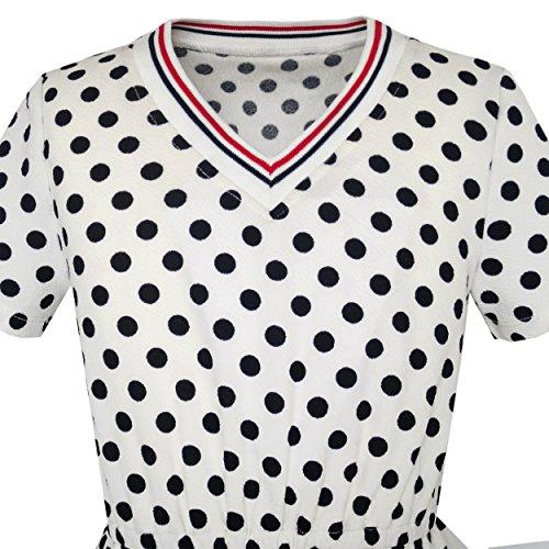 Filles Robe Arc Dot Cravate Plage D'été À Manches Courtes Taille Sundress Blanc 4-12 Ans