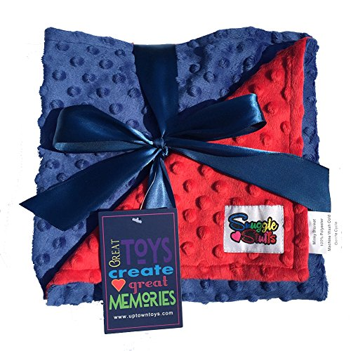 Reversible Unisex Children's Soft Baby Blanket Minky Dot (Choose Color) (Blue,Red) (Blue And Red Baby Bedding)