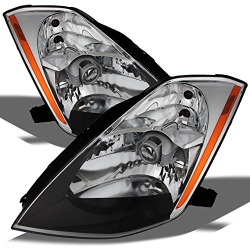 Nissan 350Z OE Replacement Chrome Bezel (HID Xenon Type) Headlights Driver/Passenger Head Lamps Pair