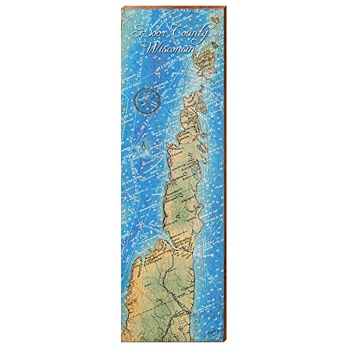 (MILL WOOD ART Door County, Wisconsin Map Home Decor Art Print on Real Wood (9.5